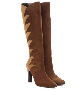 knee-high boots high boots suede brown shoes