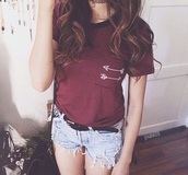 t-shirt,hipster,arrow,burgundy,bag,shirt,cute,red,whites,shorts,High waisted shorts,blue,blue shorts,grunge,tumblr outfit,girly,clothes,style,tumblr,beautiful,pretty,red t-shirt,tumblr shorts,tumblr shirt,grunge jewelry,top,pointing arrows,hipster top,stripes,summer outfits,jewels,jewelry,necklace,choker necklace,black choker,purple,spring,summer,fall outfits,winter outfits,tumble,teenagers,sweet,pockets,arrows,indie,black,piping,biased,binding,textiles,blouse,tumblr girl,tumblr clothes