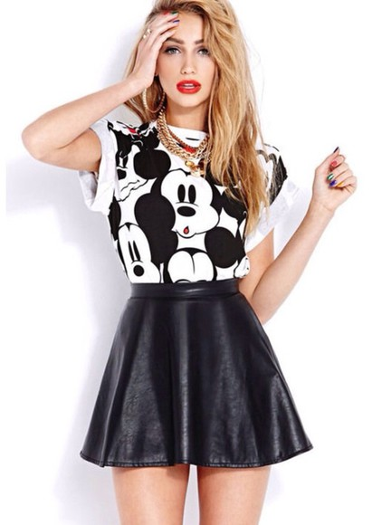 mickey mouse t-shirt skater skirt jewels skirt nail polish