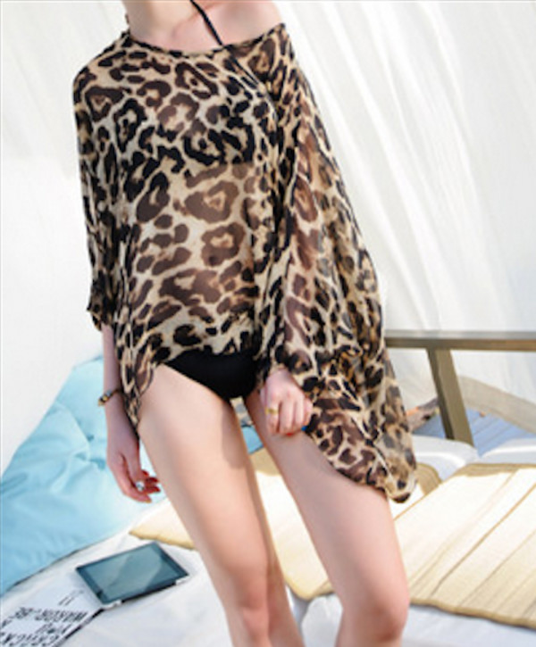 swimwear cover up leopard print