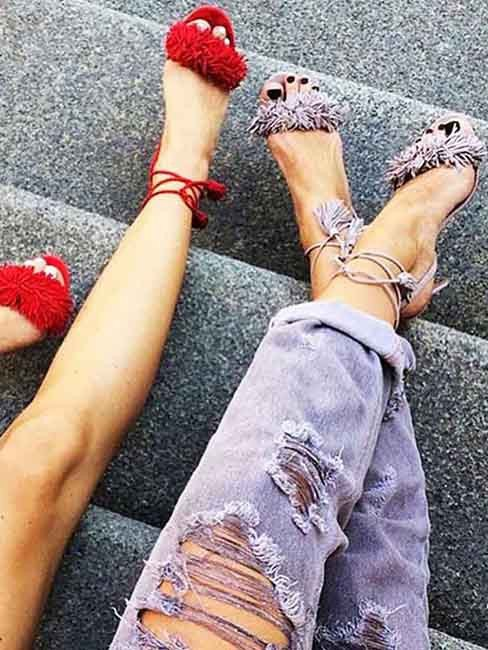 Fringe & Tassel Sandal Heels