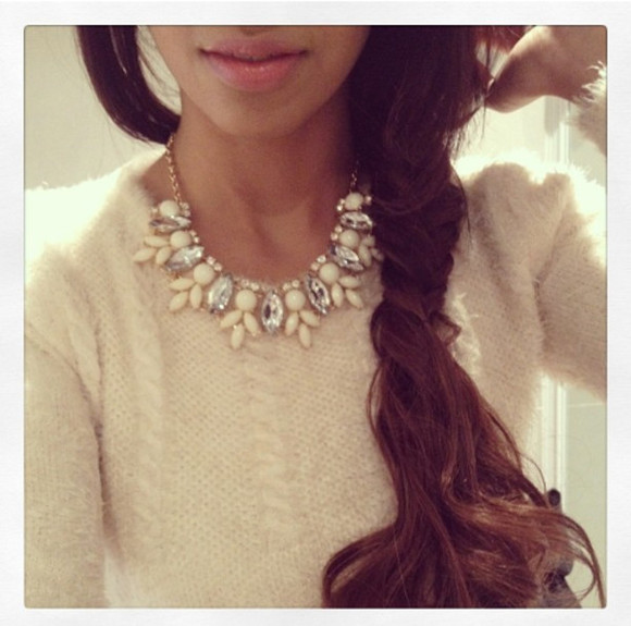 white jewels necklace gold cute jewels necklace collar gold necklace strass pearl white pearl pull smart elegant