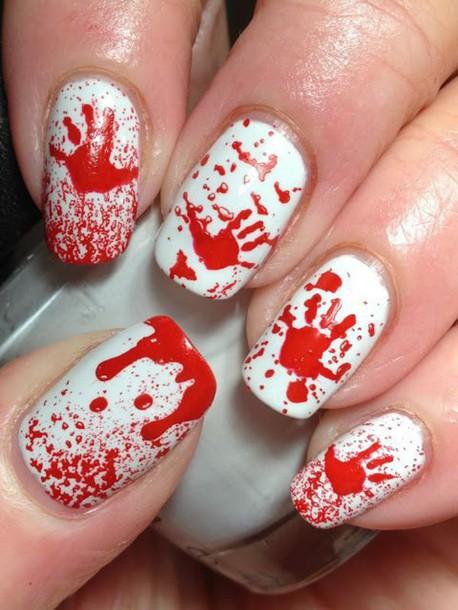 nail polish nail art blood halloween halloween makeup red nails