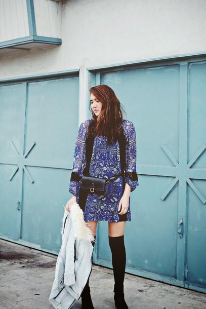 color me nana blogger blue dress patterned dress winter jacket dress jacket shoes bag
