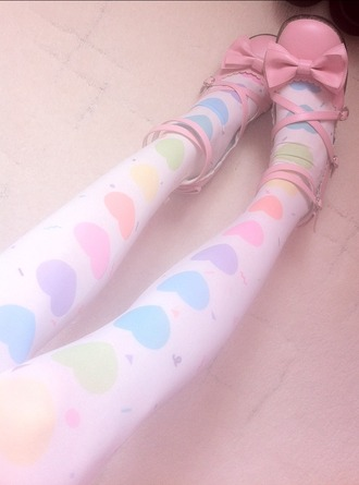 tights pastel heart rainbow kawaii