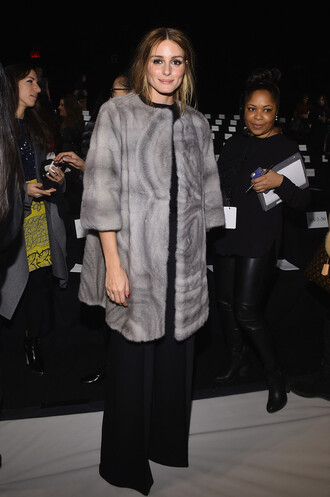 coat fur coat wide-leg pants olivia palermo fashion week 2015 pants red lime sunday