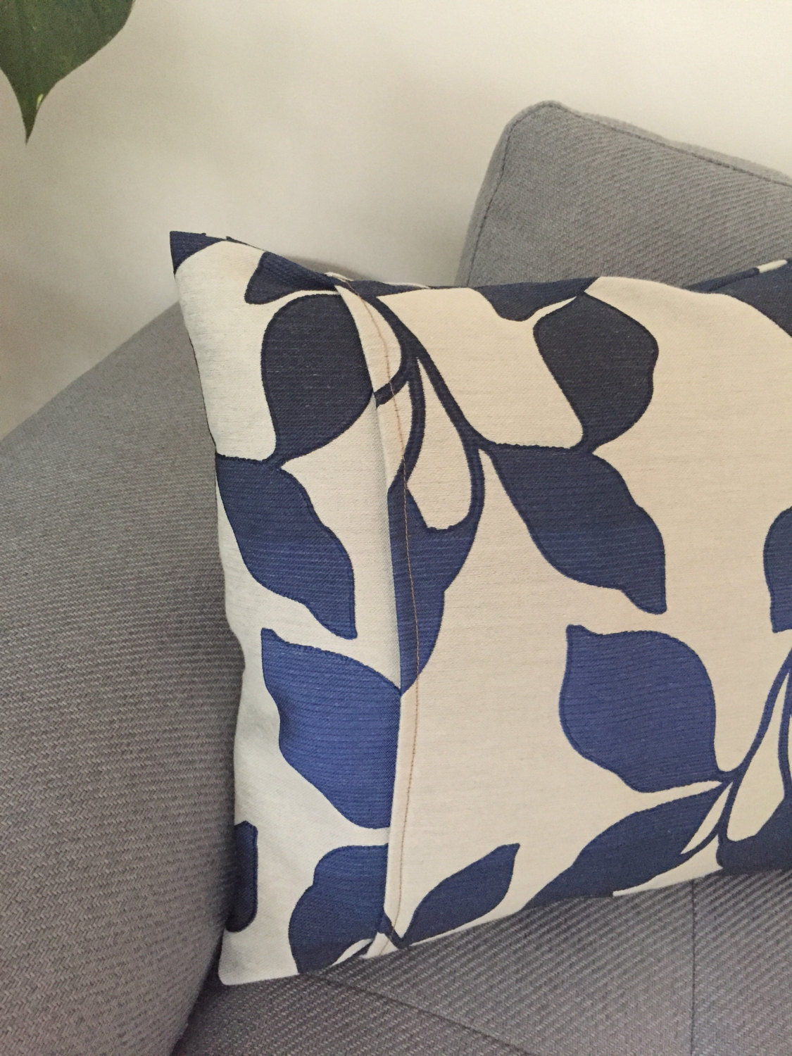 CANVAS CUSHION COVER, square cushion cover, floral cushion cover, minimal cushion, square pillow, blue cushion
