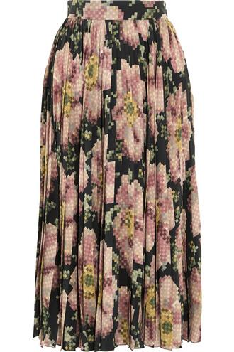 skirt pleated floral print silk rose black