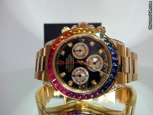 Rolex 2014 Rainbow Cosmograph Daytona Yellow Gold New Custom... voor € 27.738 te koop van een Trusted Seller op Chrono24