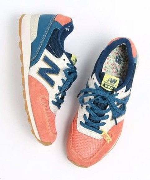 shoes women's new balance new balance coral blue sneakers hipster