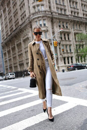 coat,trench coat,khaki,pants,denim,jeans,white jeans,pumps,high heel pumps,work outfits,sunglasses