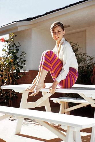 pants audrey hepburn striped pants neon pants shirt white shirt capri pants spring outfits actress