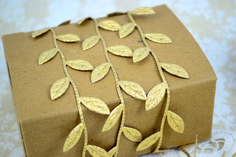 Leaves Leaf Garland Ribbon Gold - 5 yards