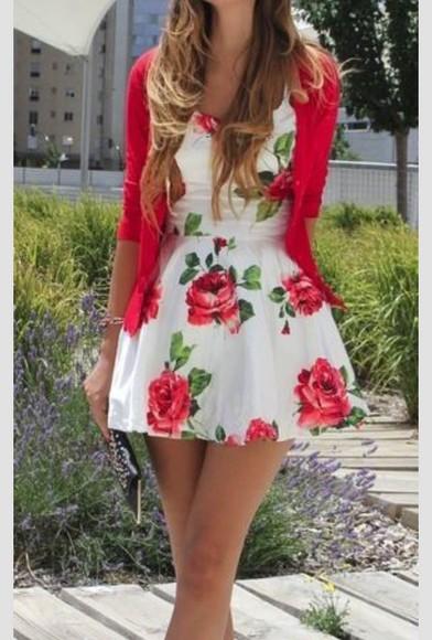 floral dress red dress
