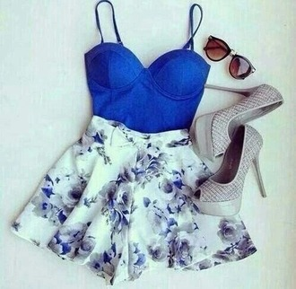 jumpsuit blue top blue corset flowers flowered shorts flower blue white white shorts evening party party dress