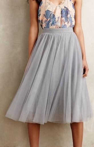 skirt tulle skirt grey skirt classy shirt
