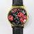 Vintage Red Roses on Black Watch, Floral Watch, Leather Watch, Women Watches, Boyfriend Watch, Ladies Watch,