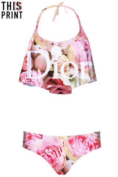 swimwear bikini flowers roses dior