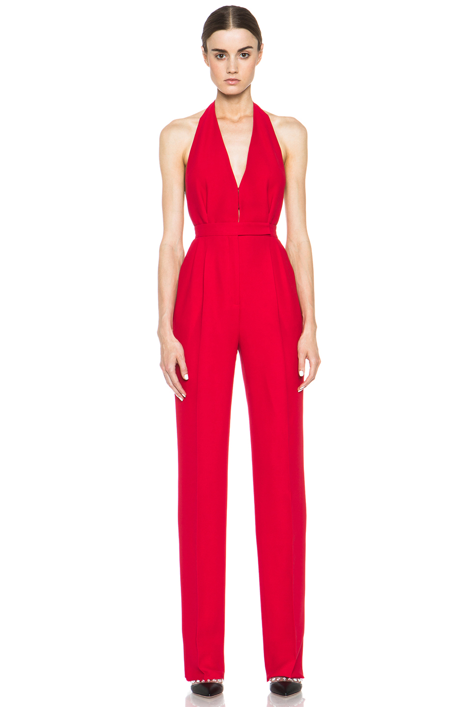 Valentino|Halter Jumpsuit in Red