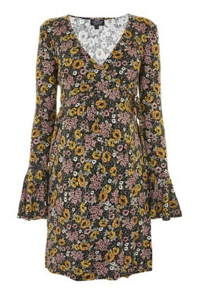Topshop dress wrap dress floral wrap dress floral black