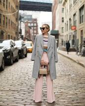 pants,wide-leg pants,pink pants,high waisted pants,coat,wool coat,sweater,knitted sweater,striped sweater,heart sunglasses,handbag,mini bag