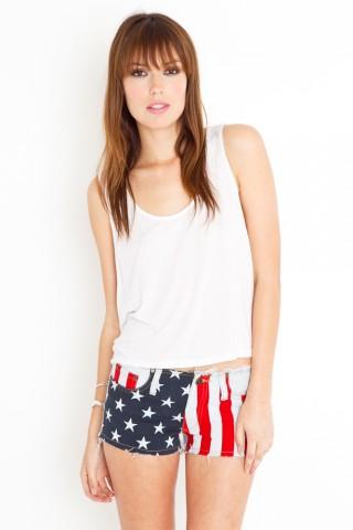 America cutoff shorts