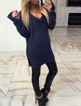 sweater zefinka sweater dress dark blue knitwear knitted dress fall outfits winter outfits cozy cool sexy fall dress cute pretty instagram boho classy girl trendy fall sweater warm stylish