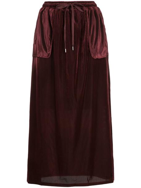 Cityshop skirt long women drawstring red