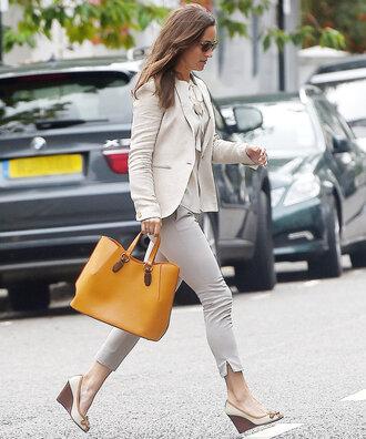bag pants fall outfits blouse blazer pippa middleton streetstyle