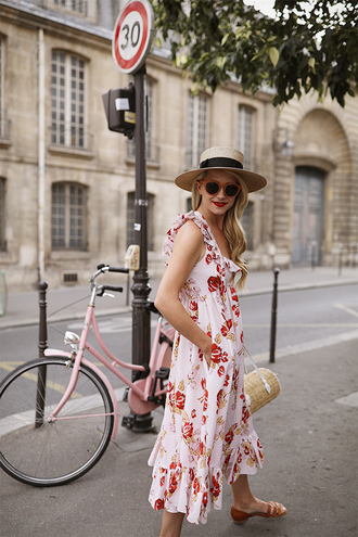 dress midi dress hat tumblr floral floral dress sun hat sunglasses bag shoes vacation outfits vacation dresses