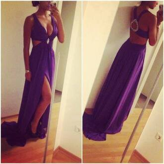 dress blue long beautiful prom v neck backless backless dress colorful purple purple dress hot girl sexy class classy prom dress fashion maxi dress gown like cute party dress long prom dress