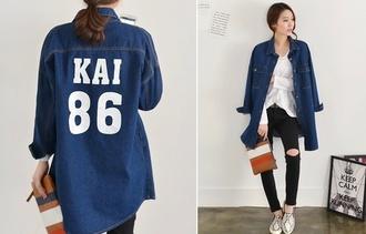 blouse rxo kai kai 86 kpop denim jeans blue jeans kfashion korean gmarket long shirt blue wolf 88 exo