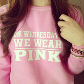 wednesday,lazy day,sweatshirt,lovely,cute,pink,brunette,home decor,cardigan,lelaan famous store,shirt,clothes,sweater,mean girls,wednesdays,like,girly,pink sweater,mean girls shirt,on wednesdays we wear pink,crewneck,white lettering,bold