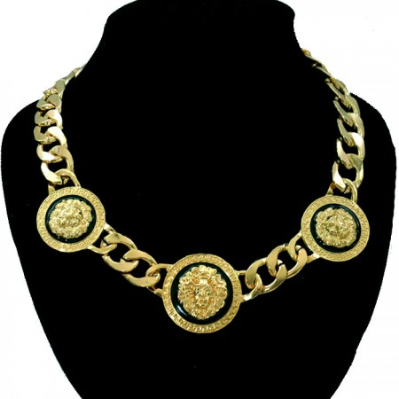 Celebrity inspired rihanna gold chunky 3 lion head chain link necklace