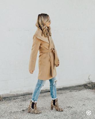 shoes tumblr boots leopard print ankle boots jeans denim blue jeans ripped jeans coat camel camel coat