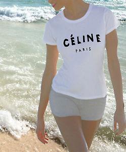 Womans Celine Paris Fitted T Shirt RARE Gold Silver Print Rihanna Tour Tee | eBay