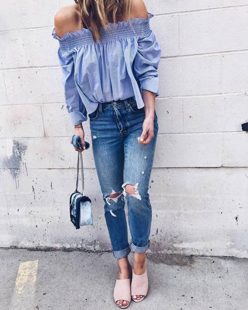 bf4a3ce56f3 blouse tumblr off the shoulder off the shoulder top blue blouse denim jeans  blue jeans ripped