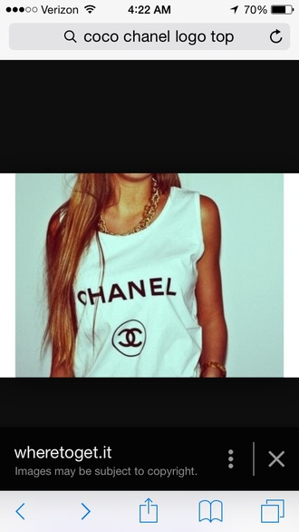 blouse white t-shirt chanel t-shirt tanktops