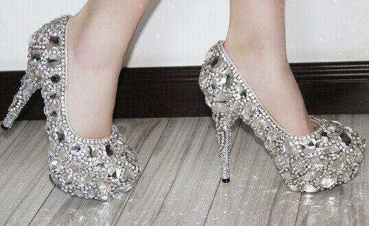 Customize Luxurious Wedding Shoes Flat Or High Heeled Crystal Diamond Peep Toe Bling Heels