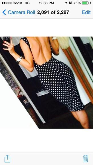 polka dots black and white backless polka dot dress