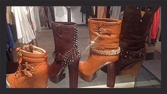 shoes studs camel brown leather heels square pins gold boots