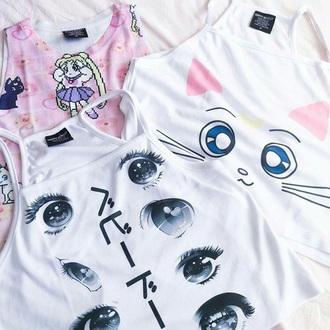 shirt anime eyes cute otaku anime shirt anime eyes fashion vibe crop tops white crop tops white pink sailor moon