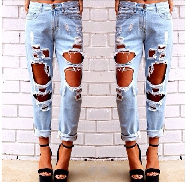 Fashion hole loose jeans t15011002