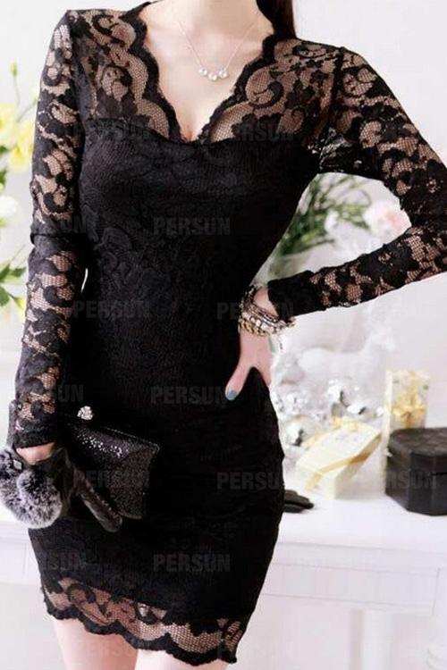 Deep V-neck Lace Dress in Black [FXBI00497] - PersunMall.com