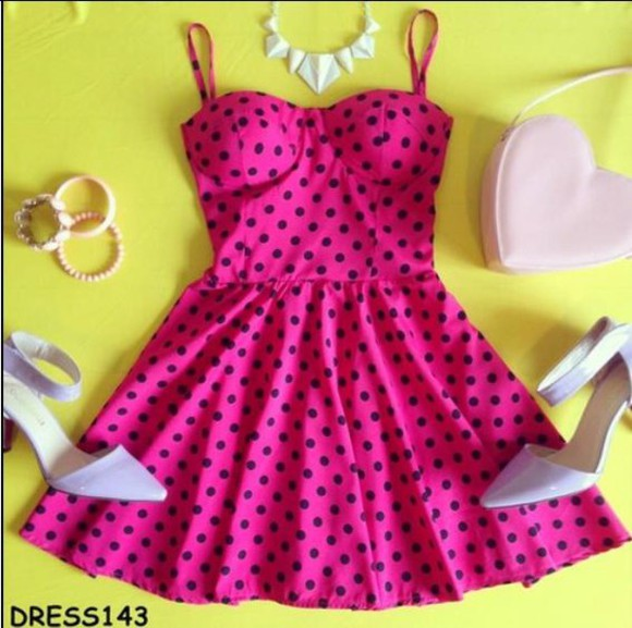 pink dress polka dots