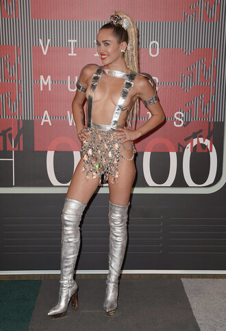 miley cyrus silver boots knee high boots vma costume