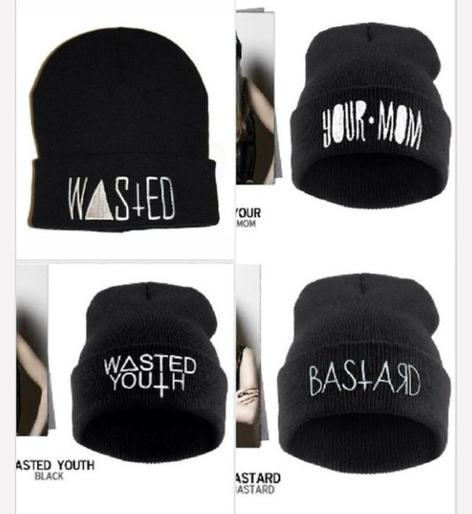 black swag wasted wasted youth beanie your mom bastard