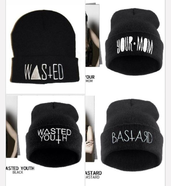 wasted wasted youth swag black beanie your mom bastard