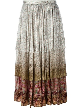 skirt floral print nude