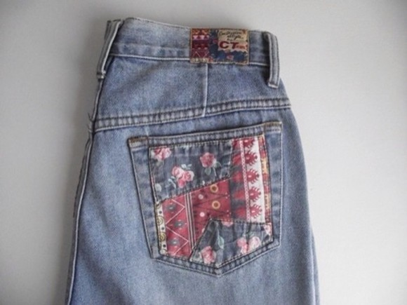 floral blue pink vintage retro jeans denim must have fabric kawaii seapunk vaporwave purple